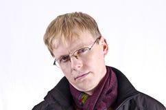 Blonder junger Mann auf Weiß Stockbild