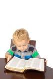 Blonder kleiner Junge, der die Bibel liest Stockbild