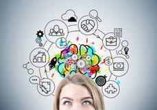 Blonder Kopf der Geschäftsfrau s, Gehirn mit Gängen Lizenzfreies Stockfoto