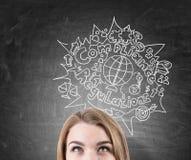Blonder Kopfabschluß oben, Skizze des internationalen Handels Stockfoto