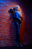 Blonder Mädchen glam Schalthebel Stockfotografie