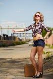 Blonder Mädchentramper Stockfotografie