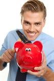 Blonder Mann mit piggybank Lizenzfreie Stockbilder