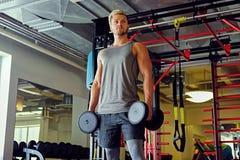 Blonder sportlicher Mann, der Hocken mit Dummköpfen in einem Turnhallenclub tut Stockfoto