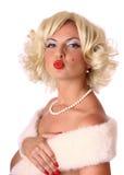 Blonder Stift herauf Mädchen Stockfoto