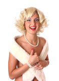 Blonder Stift herauf Mädchen Stockbild