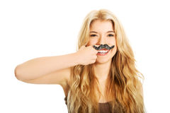 Blonder Student mit dem Schnurrbart Stockbilder