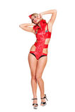 Blonder Tänzer im Rot getrennt auf Weiß Lizenzfreies Stockbild