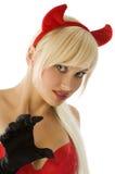 Blonder Teufelabschluß oben Stockfoto