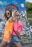 Blonder und Brunetterest in der Stadt, lächelnd, Modeart, gute Tätigkeit, Stadtleben, Student Stockbilder