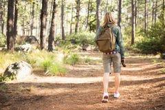 Blonder Wanderer, der auf Weg wandert Stockfotos