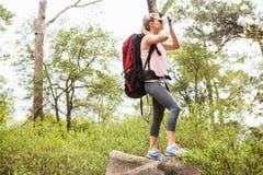 Blonder Wanderer, der durch Ferngläser schaut Lizenzfreie Stockfotografie