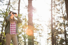 Blonder Wanderer, der durch Ferngläser schaut Lizenzfreie Stockfotos