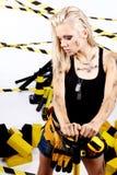 Blonder weiblicher Bauarbeiter Stockfotos