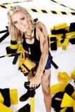 Blonder weiblicher Bauarbeiter Stockfoto