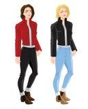 Blonderes Mädchen in der Bomberjacke und -jeans Lizenzfreie Stockfotos