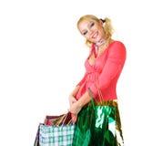 Blondes Art und Weisebaumuster am Einkaufen Stockbild