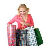 Blondes Art und Weisebaumuster am Einkaufen Lizenzfreie Stockbilder