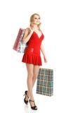 Blondes Art und Weisebaumuster am Einkaufen Lizenzfreie Stockfotografie