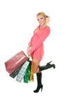 Blondes Art und Weisebaumuster am Einkaufen Stockfotos