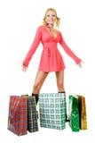 Blondes Art und Weisebaumuster am Einkaufen Lizenzfreies Stockfoto