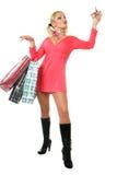 Blondes Art und Weisebaumuster am Einkaufen Stockfotografie