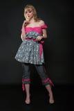 Blondes Art und Weisebaumuster im Kleid Lizenzfreies Stockfoto