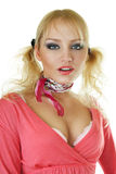 Blondes Art und Weisebaumuster im rosafarbenen Kleid Stockbilder