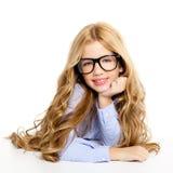 Blondes Art und Weisekindmädchen mit Glasportrait Stockfotos