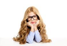 Blondes Art und Weisekindmädchen mit Glasportrait Stockbild