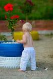 Blondes Baby auf dem Strand mit Hibiscus Stockfotografie
