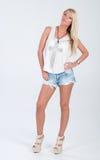 Blondes behaartes Modell in der Americanaausstattung Lizenzfreie Stockfotografie