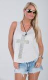 Blondes behaartes Modell in der Americanaausstattung Lizenzfreie Stockbilder