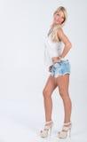 Blondes behaartes Modell in der Americanaausstattung Lizenzfreies Stockfoto