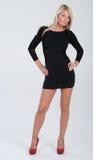 Blondes behaartes Modell im kurzen Kleid Lizenzfreie Stockfotos