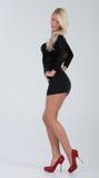 Blondes behaartes Modell im kurzen Kleid Stockfotografie