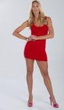 Blondes behaartes Modell im Rot und im Rosa Stockfotografie