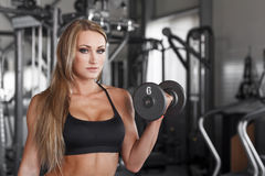 Blondes Bodybuildertraining mit Dummkopf Stockbild