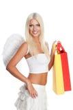 Blondes Fraueneinkaufen Stockbild