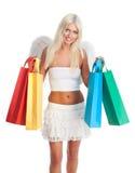 Blondes Fraueneinkaufen Stockfotografie