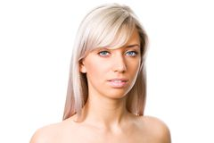 Blondes Frauengesicht stockbild