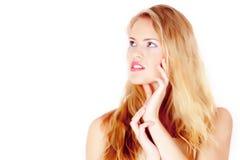 Blondes Frauengesicht der Schönheit Stockfoto