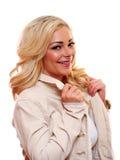 Blondes Frauenlächeln Lizenzfreies Stockbild