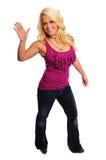 Blondes Frauenwellenartig bewegen Lizenzfreies Stockfoto