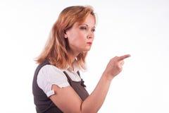 Blondes Frauenzeigen Lizenzfreies Stockfoto