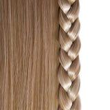 Blondes gerades Haar und Zopf oder Zopf lokalisiert Lizenzfreies Stockfoto