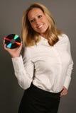 Blondes Geschäftsfrau-Holding CD Stockbilder