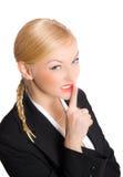 Blondes Geschäftsfrauerscheinen-Ruhezeichen Lizenzfreie Stockfotos