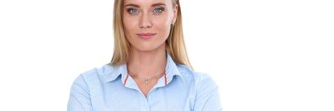 Blondes Geschäftsfrauporträt lokalisiert Lizenzfreie Stockfotografie