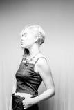 Blondes Haar-blaue Augen-amerikanische Frau Lizenzfreies Stockfoto